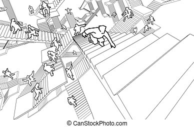 people in labyrinth of stairs - lost and confused people...