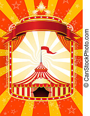 Circus poster - Advertising poster with banner and Big Top...