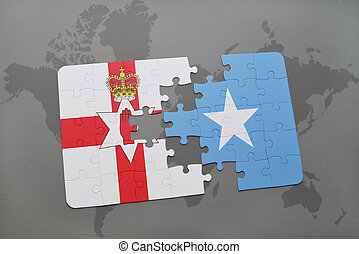 puzzle with the national flag of northern ireland and...