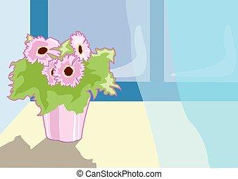 landscape 18.eps - Pink flower in a pot on window sill open...