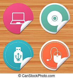 Notebook pc and Usb flash drive stick icons. - Round...