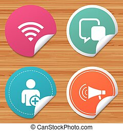 Wifi and chat bubbles. Add user, megaphone. - Round stickers...
