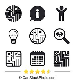Circuit board signs. Technology scheme icons.