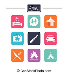 Hiking trip icons. Camping, shower and toilet. - Hiking trip...