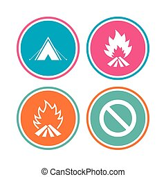 Tourist camping tent sign. Fire flame icons.