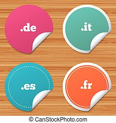 Top-level domains signs. De, It, Es and Fr. - Round stickers...