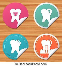 Dental care icons. Caries tooth and implant. - Round...