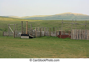 Corral in the badlands of Alberta, Canada