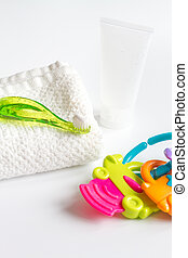 children's toothbrush oral care on white background.