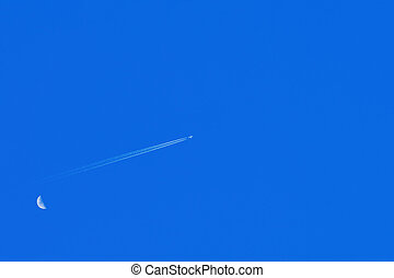 Airplane in Sky - Airplane in the Sky with Moon...