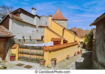 Street in Sighisoara - Street in Old Town of Sighisoara,...