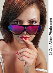 woman in bright sunglasses