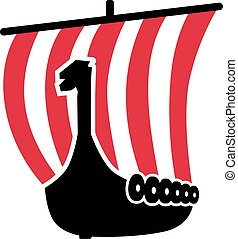 Viking boat with red-white striped sail