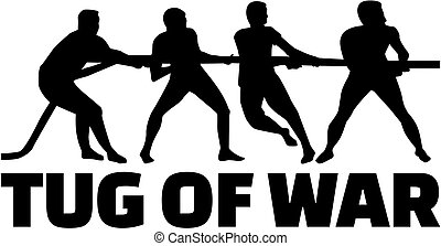 Tug of war silhouette with word