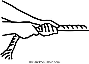 Hands pulling rope - tug of war