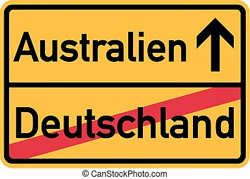 Migration from germany to Australia - german town sign