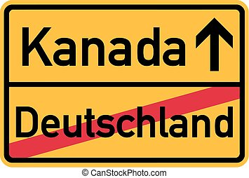 Migration from germany to Canada - german town sign
