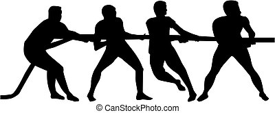 Tug of war. Silhouette of three people.