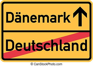 Migration from germany to Denmark - german town sign