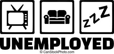Unemployed icons - tv, sofa, sleep