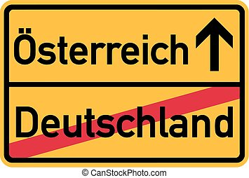 Migration from germany to Austria - german town sign
