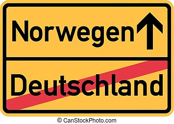 Migration from germany to Norway - german town sign