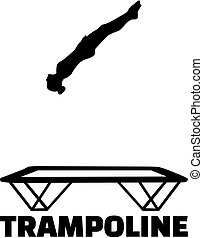 Trampoline silhouette with word
