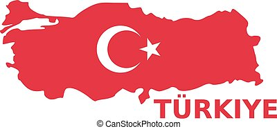 Turkey map with flag with türkiye