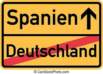 Migration from germany to Spain - german town sign