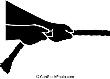 Tug of war - hands pull rope