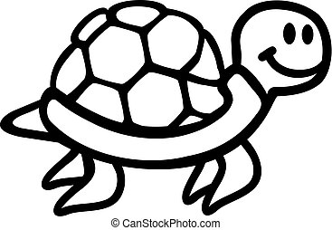Swimming Turtle cartoon outline
