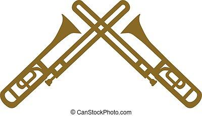 Two trombones crossed