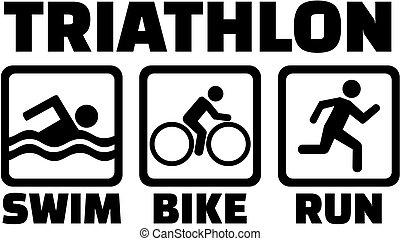 Triathlon set with pictogram icons