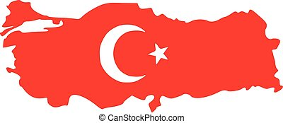 Turkey map with flag colors