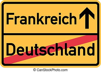 Migration from germany to France - german town sign