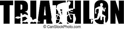 Triathlon word with cutouts