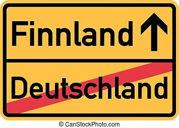 Migration from germany to Finland - german town sign