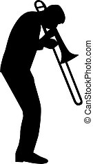Trombone player silhouette