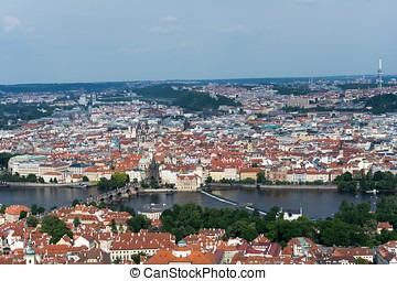 Aerial view of Prague from Petrin Tower - Aerial view of...