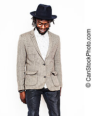 young handsome afro american boy in stylish hipster hat...