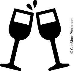 Wine glasses cheers icon