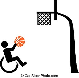Wheelchair basketball with basket icon