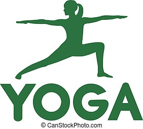 Yoga pose warrior with word