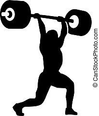 Strong weightlifter with barbell