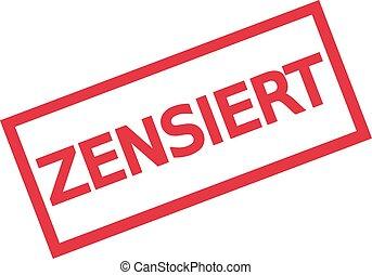 Censored stamp sign - german