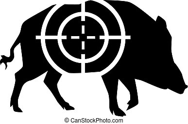Wild pig with crosshair hunting