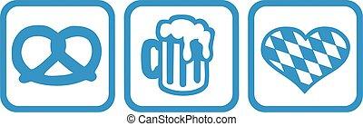 Oktoberfest icons pretzel beer