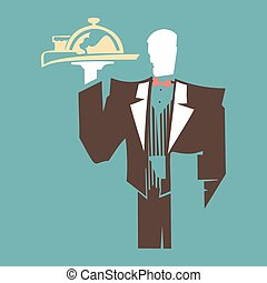 Silhouette of standing waiter holds a tray.