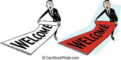 Man Rolling Out Welcome Mat - A man rolls out a red welcome...
