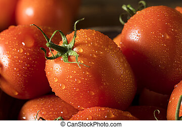 Raw Red Organic Roma Tomatoes Ready for Cooking
